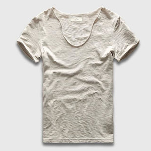 Men Basic T-Shirt Solid Cotton V Neck Slim Fit Male Fashion T Shirts Short Sleeve Top Tees 2017 Light Gray / S