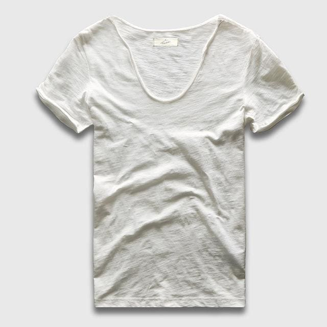Men Basic T-Shirt Solid Cotton V Neck Slim Fit Male Fashion T Shirts Short Sleeve Top Tees 2017 White / S