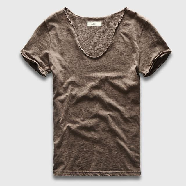 Men Basic T-Shirt Solid Cotton V Neck Slim Fit Male Fashion T Shirts Short Sleeve Top Tees 2017 Khaki Light / S