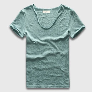 Men Basic T-Shirt Solid Cotton V Neck Slim Fit Male Fashion T Shirts Short Sleeve Top Tees 2017.