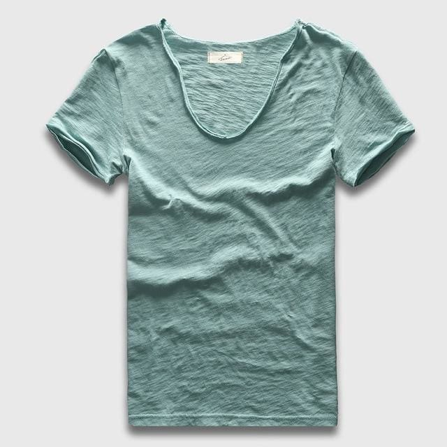Men Basic T-Shirt Solid Cotton V Neck Slim Fit Male Fashion T Shirts Short Sleeve Top Tees 2017 Light Green / S