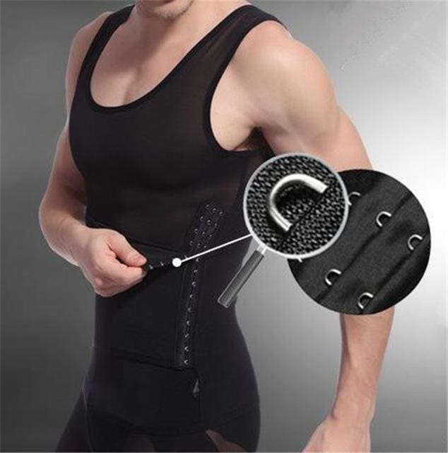 Men Chest Shaper Bodybuilding Slimming Belly Abdomen Tummy Fat Burn Posture Corrector Compression N26 Black / M