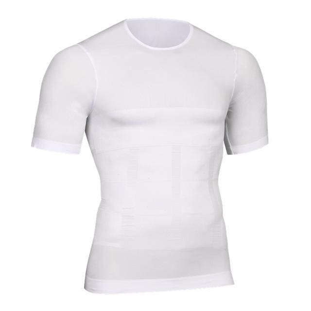 Men Chest Shaper Bodybuilding Slimming Belly Abdomen Tummy Fat Burn Posture Corrector Compression N94 White / M