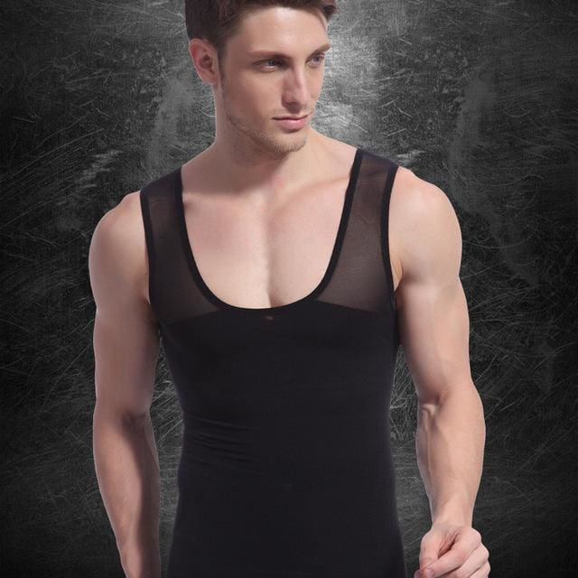 Men Chest Shaper Bodybuilding Slimming Belly Abdomen Tummy Fat Burn Posture Corrector Compression N27 Black / M