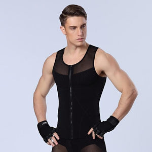 Men Chest Shaper Bodybuilding Slimming Belly Abdomen Tummy Fat Burn Posture Corrector Compression N44 Zipper Black / M