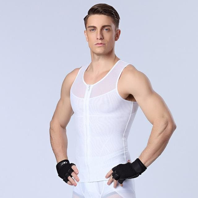 Men Chest Shaper Bodybuilding Slimming Belly Abdomen Tummy Fat Burn Posture Corrector Compression N44 Zipper White / M