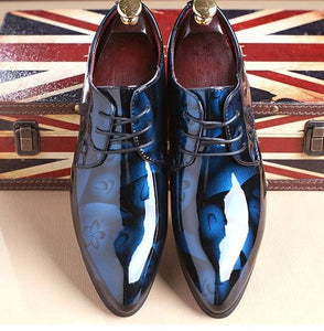 Men Dress Shoes Shadow Patent Leather Luxury Fashion Groom Wedding Shoes. - MBMCITY