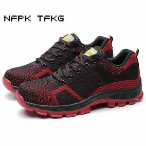 men fashion large size breathable mesh steel toe caps work safety summer shoes non-slip platform - MBMCITY