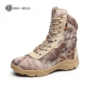 Men Military Tactical Boots Autumn Winter Waterproof Leather Army Boots Desert Safty Work Shoes - MBMCITY