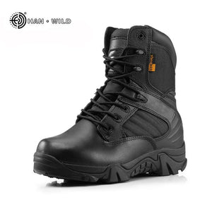 Men Military Tactical Boots Winter Leather Black Special Force  Desert Ankle Combat Boots Safety - MBMCITY