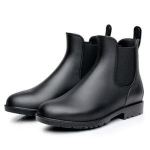 Men rubber rain boots fashion black chelsea boots casual lovers botas slip-on waterproof ankle boots 102M dark brown / 38