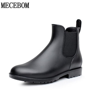 Men rubber rain boots fashion black chelsea boots casual lovers botas slip-on waterproof ankle boots - MBMCITY