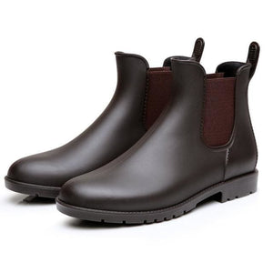 Men rubber rain boots fashion chelsea botas hombre casual slip-on waterproof ankle boots moccasins - MBMCITY
