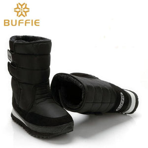 Men shoes Winter Boots Shoe Solid Black Snow Boots Plus size 36 to Big 47 Brand style warm male - MBMCITY
