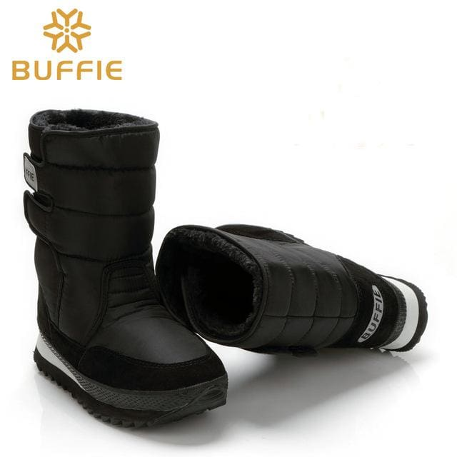 Men Shoes Winter Boots Shoe Solid Black Snow Boots Plus Size 36 To Big 47 Brand Style Warm Male M9489Black / 37