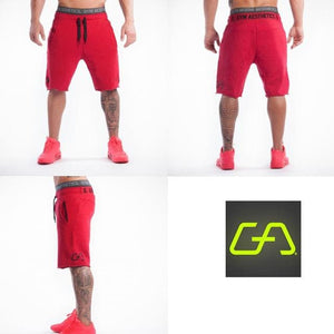 Men Shorts Mens Slim fit Short Trousers Fitness Bodybuilding Jogger Mens Brand durable Sweatpants red / M