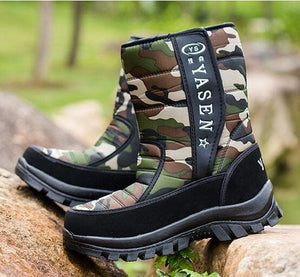 Men Snow Boots Camouflage Platform Men Winter Shoes High Quality Warm Non-Slip Waterproof Boots For 05 Green Camouflage / 7.5