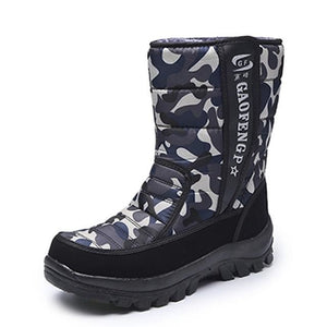 Men snow boots camouflage platform men winter shoes high quality warm non-slip waterproof boots for Gray camouflage / 7.5