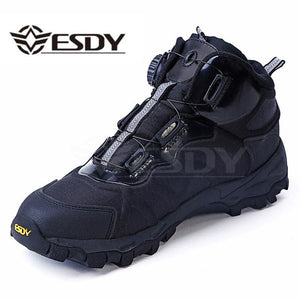 Men Tactical Military Boots Winter Leather Lace Up Combat Army Ankle Boots Mens Flat Safety Work - MBMCITY