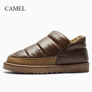 Men Winter Snow Boots Warm Flat And Waterproof Boots For Winter Free Shipping Comfortable Soft Camel / 8