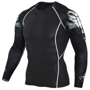Mens Compression Shirts 3D Teen Wolf Jerseys Long Sleeve T Shirt Fitness Men Lycra MMA Crossfit TC96 / Asian S