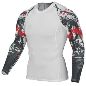 Mens Compression Shirts 3D Teen Wolf Jerseys Long Sleeve T Shirt Fitness Men Lycra MMA Crossfit TC126 / Asian S