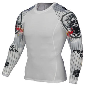Mens Compression Shirts 3D Teen Wolf Jerseys Long Sleeve T Shirt Fitness Men Lycra MMA Crossfit TC127 / Asian S