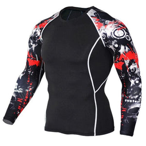 Mens Compression Shirts 3D Teen Wolf Jerseys Long Sleeve T Shirt Fitness Men Lycra MMA Crossfit TC119 / Asian S
