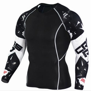 Mens Compression Shirts 3D Teen Wolf Jerseys Long Sleeve T Shirt Fitness Men Lycra MMA Crossfit - MBMCITY