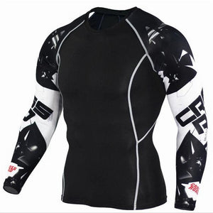 Mens Compression Shirts 3D Teen Wolf Jerseys Long Sleeve T Shirt Fitness Men Lycra MMA Crossfit TC116 / Asian S