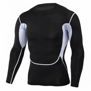 Mens Fitness 3D Prints Long Sleeves T Shirt Men Bodybuilding Skin Tight Thermal Compression Shirts Tc107 / Aisan S