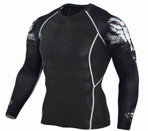 Mens Fitness 3D Prints Long Sleeves T Shirt Men Bodybuilding Skin Tight Thermal Compression Shirts - MBMCITY
