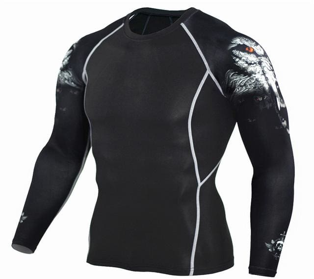 Mens Fitness 3D Prints Long Sleeves T Shirt Men Bodybuilding Skin Tight Thermal Compression Shirts Tc96 / Aisan S