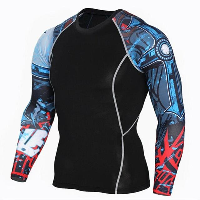 Mens Fitness 3D Prints Long Sleeves T Shirt Men Bodybuilding Skin Tight Thermal Compression Shirts Tc121 / Aisan S