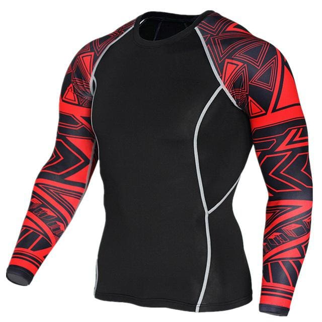 Mens Fitness 3D Prints Long Sleeves T Shirt Men Bodybuilding Skin Tight Thermal Compression Shirts Tc120 / Aisan S