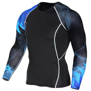 Mens Fitness 3D Prints Long Sleeves T Shirt Men Bodybuilding Skin Tight Thermal Compression Shirts Tc123 / Aisan S