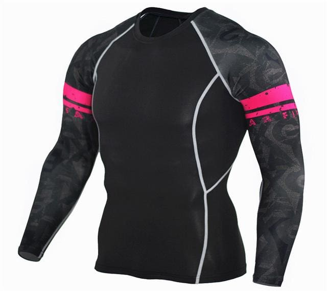 Mens Fitness 3D Prints Long Sleeves T Shirt Men Bodybuilding Skin Tight Thermal Compression Shirts Tc97 / Aisan S