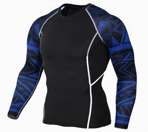 Mens Fitness 3D Prints Long Sleeves T Shirt Men Bodybuilding Skin Tight Thermal Compression Shirts Tc118 / Aisan S