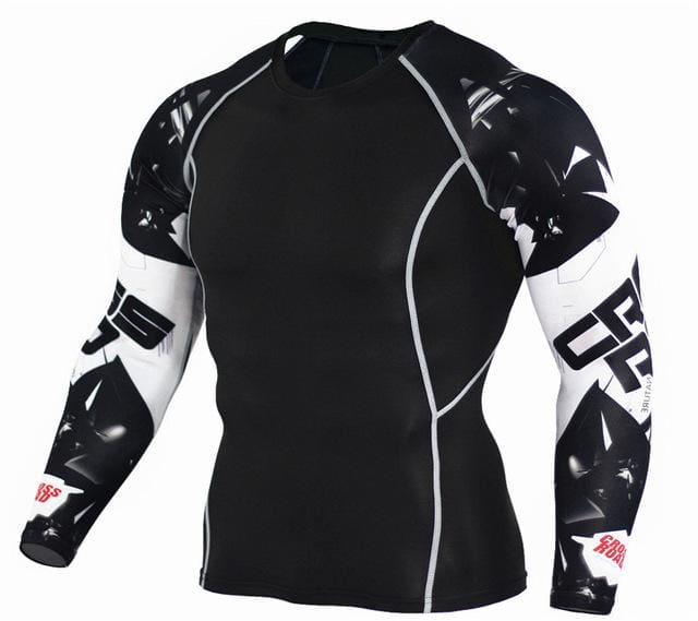 Mens Fitness 3D Prints Long Sleeves T Shirt Men Bodybuilding Skin Tight Thermal Compression Shirts Tc116 / Aisan S