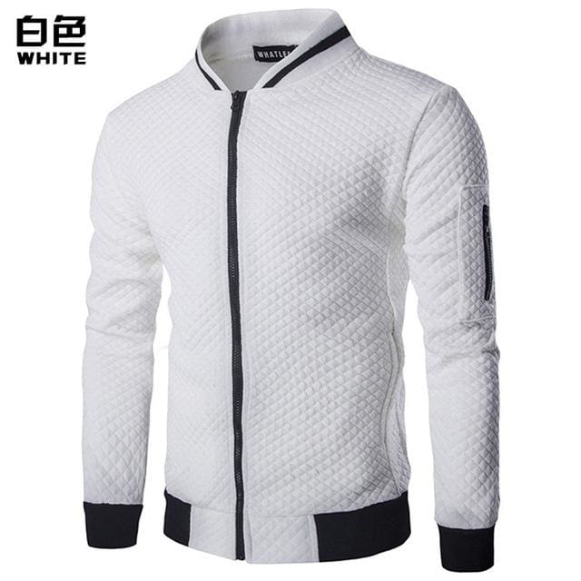 Mens Hoodie 2018 Male Brand Casual Zipper Jacket Stand-Neck Sudaderas Hombre High-Grade Sweatshirt White / S