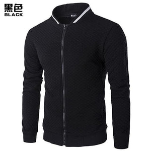 Mens Hoodie 2018 Male Brand Casual Zipper Jacket Stand-Neck Sudaderas Hombre High-Grade Sweatshirt Black / S