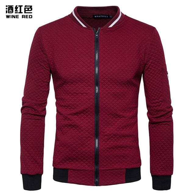 Mens Hoodie 2018 Male Brand Casual Zipper Jacket Stand-Neck Sudaderas Hombre High-Grade Sweatshirt Burgundy / S