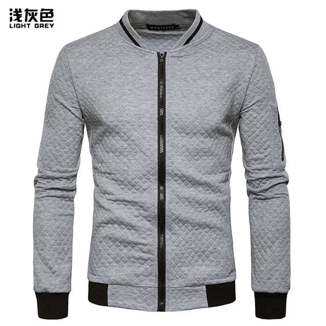 Mens Hoodie 2018 Male Brand Casual Zipper Jacket Stand-Neck Sudaderas Hombre High-Grade Sweatshirt Gray / S