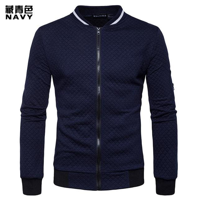 Mens Hoodie 2018 Male Brand Casual Zipper Jacket Stand-Neck Sudaderas Hombre High-Grade Sweatshirt Navy Blue / S