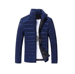 Mens Jackets And Coats Casual Jacket Men Clothes Cotton Denim Jacket Solid Zipper Coat Men Bomber Blue / M