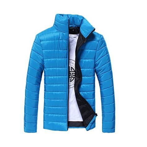 Mens Jackets And Coats Casual Jacket Men Clothes Cotton Denim Jacket Solid Zipper Coat Men Bomber Sky Blue / M