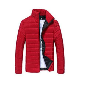 Mens Jackets And Coats Casual Jacket Men Clothes Cotton Denim Jacket Solid Zipper Coat Men Bomber Red / M