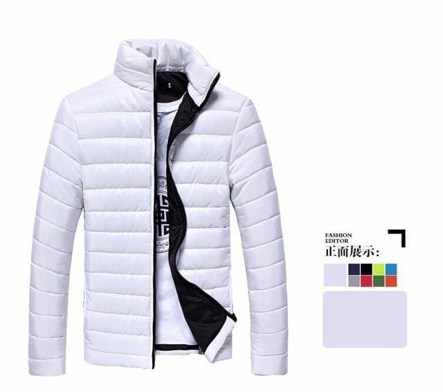 Mens Jackets And Coats Casual Jacket Men Clothes Cotton Denim Jacket Solid Zipper Coat Men Bomber White / M