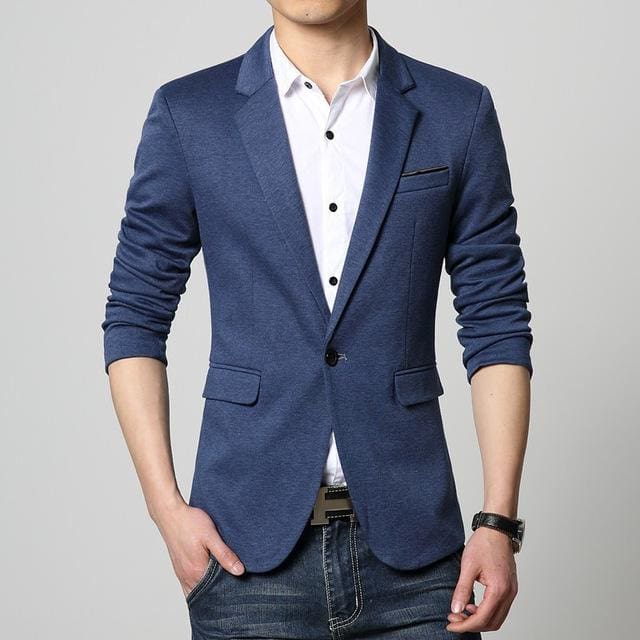Mens Korea Slim Fit Fashion Blazers Suit Jacket Male CasualPlus size M-6XL Coat Wedding dress Black 3625Navy Blue / L