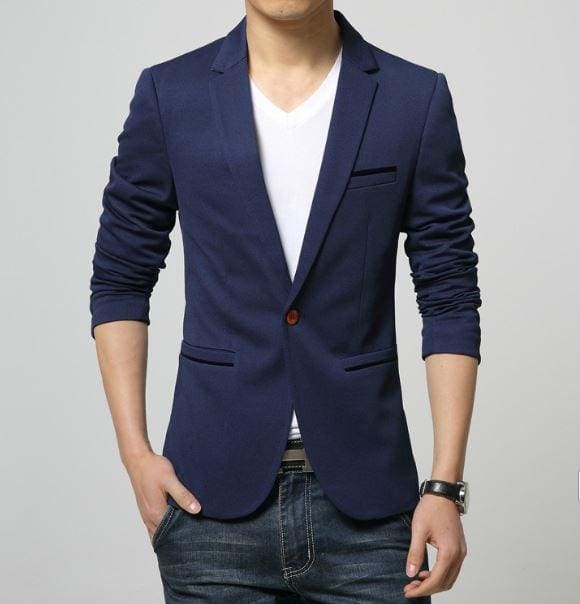 Mens Korea Slim Fit Fashion Blazers Suit Jacket Male CasualPlus size M-6XL Coat Wedding dress Black 1625Navy Blue / L